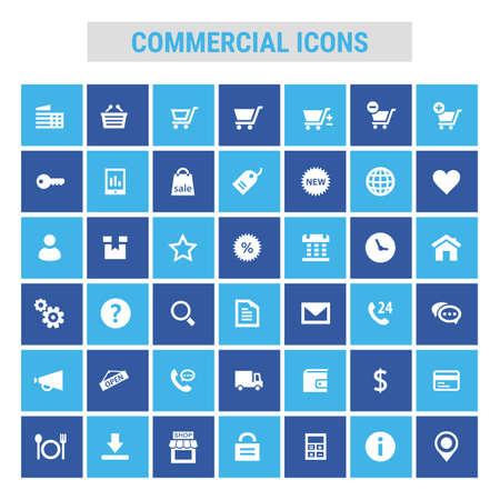 Big commercial icon set, trendy flat icons Ilustrace