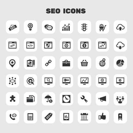 Big SEO icon set, trendy flat icons