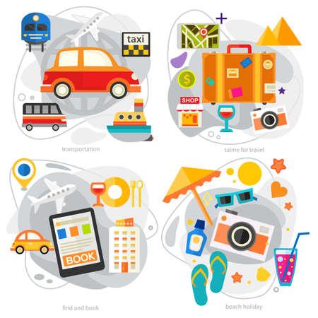 Time For Travel Concept Illustrations, trendy flat banners Reklamní fotografie - 167878903