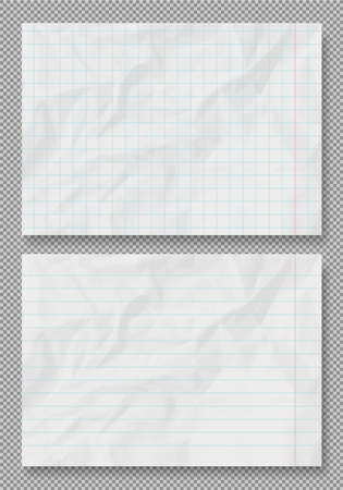 Vector crumpled grunge realistic lined old paper texture