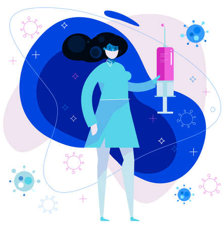 Illustration of a medical woman with a syringe with a vaccine