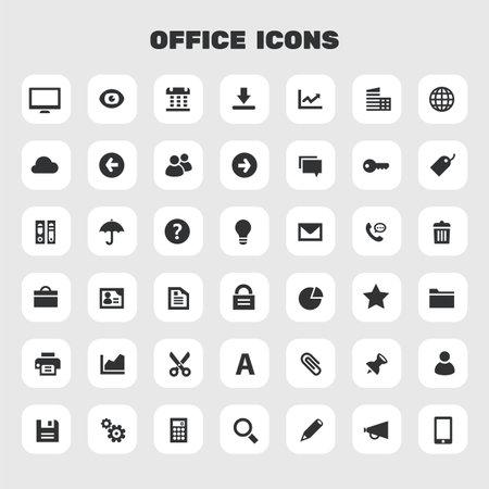 Big Office icon set, trendy flat icons