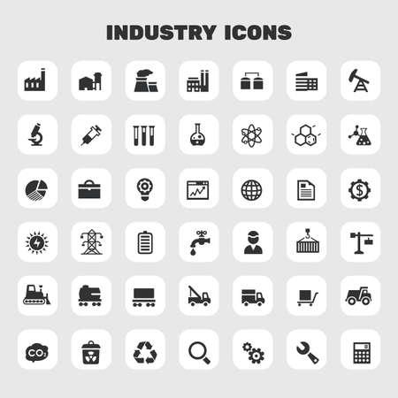 Big Industry icon set, trendy flat icons Ilustrace