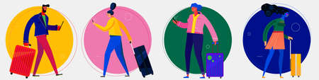 Character design flat trendy illustration, persons in various poses Ilustrace