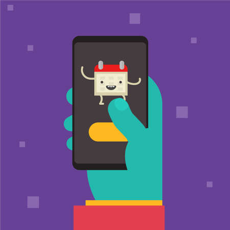 Hand and gadget trendy colorful vector illustration