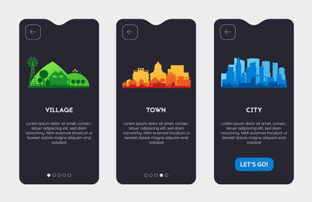 App Splash Screens With City, Town and Village Illustrations Ilustrace