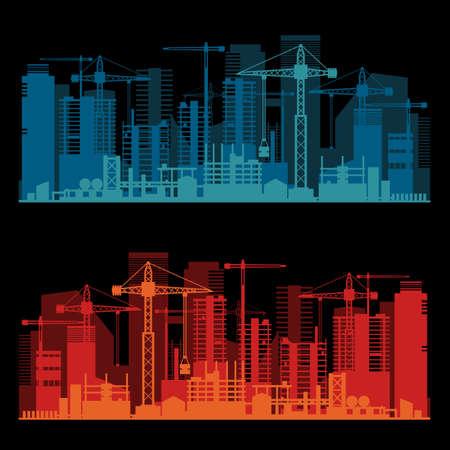 Industrial trendy city skyline colored sets. Vector illustration