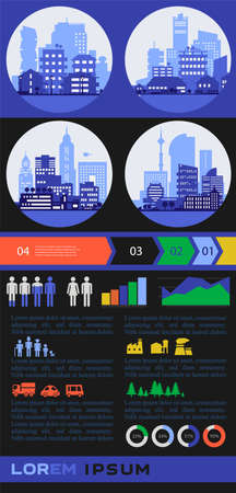 Trendy futuristic eco city infographics templates with various elements Ilustrace