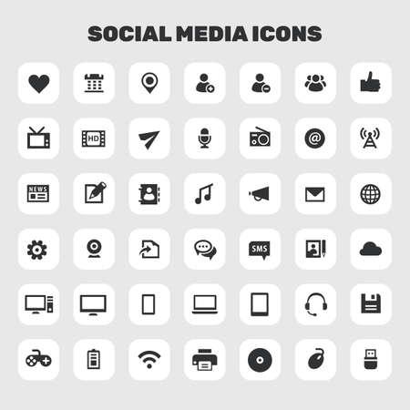 Big Social Media icon set, trendy flat icons Ilustrace