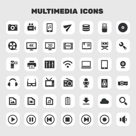 Big multimedia icon set, trendy flat icons