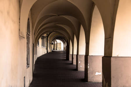 diverging: The passage at street of Prague of warm brown and beige colours