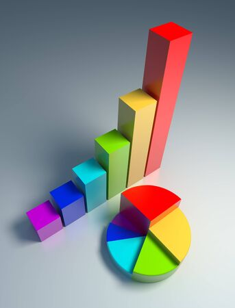 The diagrams of profits, classic and circle, are executed in different colors. Stock Photo - 9482033