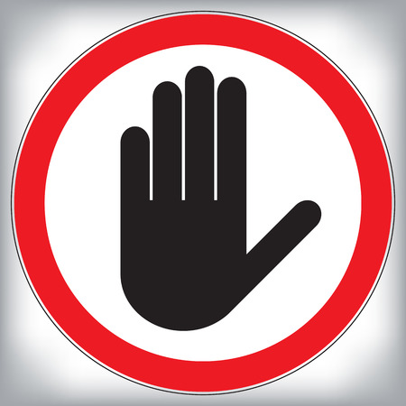 Vector hand stop prohibition sign