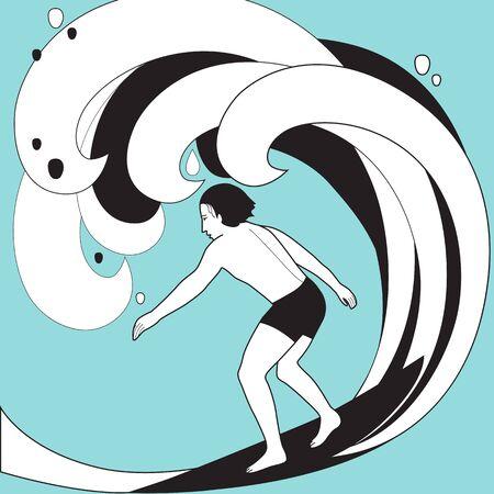 Graphic vector illustration of surfer in swimwear