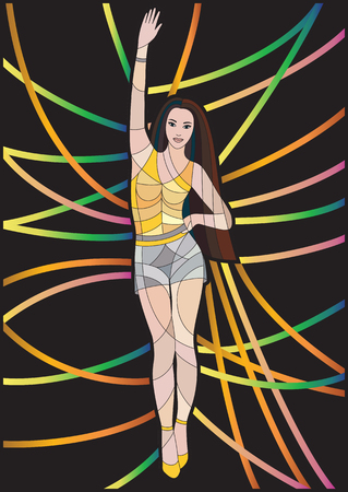 wave hello: Slim sexy lady in short shorts waving her hand. Beautiful glamour girl with hand up in mosaic style. Black background with bright lines. Vector illustration