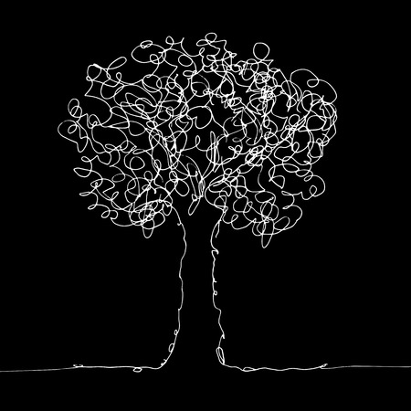 Hand drawn sketch of tree on black background. Line art vector illustration