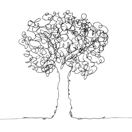 Hand drawn sketch of tree on white background. Line art vector illustration Illustration