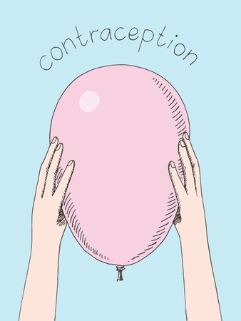 Hands holding condom as air balloon. Conceptual illustration of contraception and safe sex. Hand drawn sketch