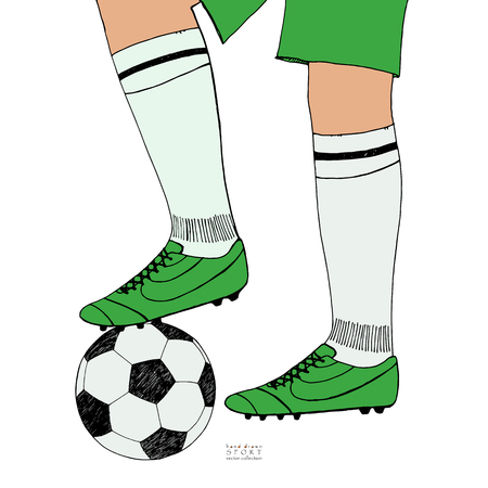 Soccer ball under player feet on white background. Hand drawn color sketch. Sport collection color vector illustration
