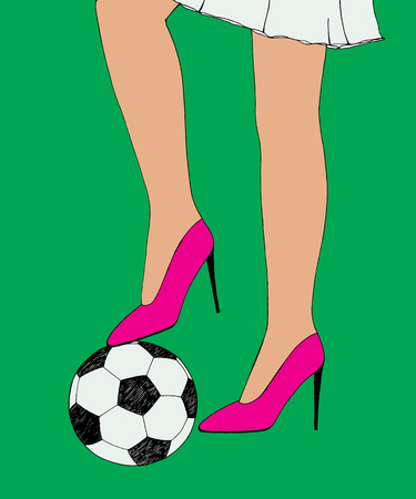 Pretty young slim girl holds soccer ball under shoe heel. Hand drawn color sketch.