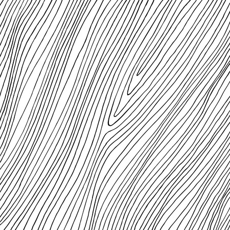 Hand drawn abstract thin black lines on white background. Reminds wooden texture Illustration