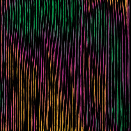 Hand drawn vertical parallel thin black lines on colorful background. Energetic vibrant colors