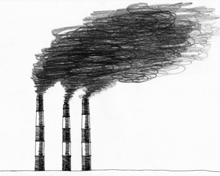 Hand drawn sketch of smokestack. Dark grey on white background. Illustration of air pollution caused by fume from factory and plant pipe, tube, trunk