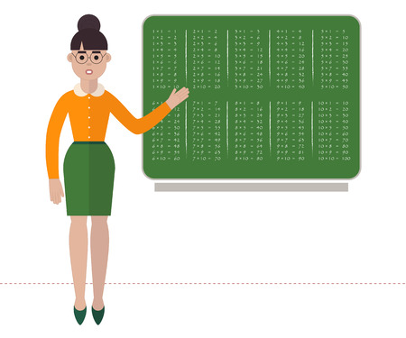 Strict teacher in glasses is showing multiplication table on green school board. Flat style vector illustration on back to school topic. Isolated on white background.