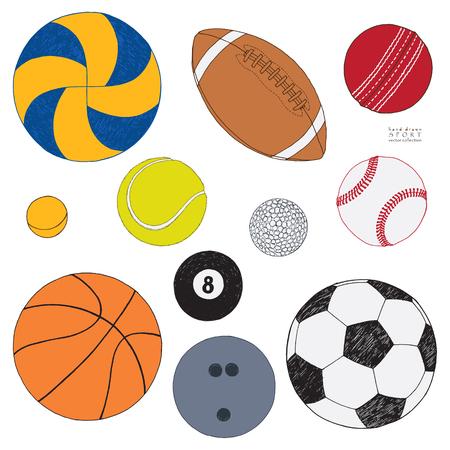 vector conjunto de balones de deporte. dibujado a mano de colores aislados . sobre fondo blanco .
