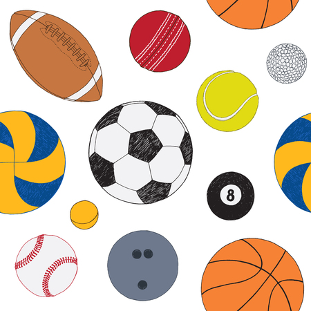 Seamless pattern with set of sport balls. Hand drawn colored vector sketch. White background. Pattern included