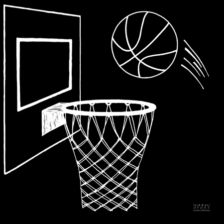 Action vector illustration of basketball going into a hoop. Backboard, hoop, ring, net, kit. Hand drawn sketch. White on black background
