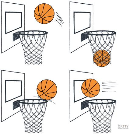 Basket ball action set graphic vector illustration. Backboard, hoop, ring, net, kit. Hand drawn color sketch. On white background Standard-Bild