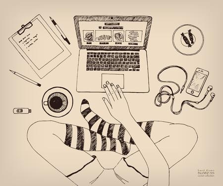 Cross-legged woman working on laptop at home. Legs in socks. Creative job. Freelance. Hand drawn ink vector sketch. Vintage style Stock Illustratie