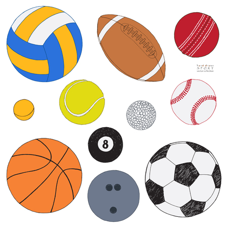 Vector set of sport balls. Hand drawn colored sketch. Isolated on white background. Sport collection