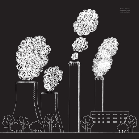 White smokestack on black background. Illustration of air pollution caused by fume from factory and plant pipe, tube, trunk. Coal station. Hand drawn vector sketch 向量圖像