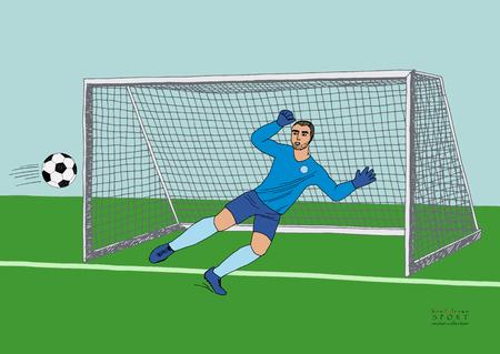 Doelman springen om de voetbal te vangen. Voetbalwedstrijd. Jonge atletische kampioen. Hand getekend vector plat kleurrijke illustratie Vector Illustratie
