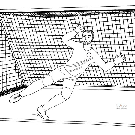 Goalkeeper jumping to catch the soccer ball. Football game. Young athletic champion. Hand drawn vector flat illustration. Black line on white background
