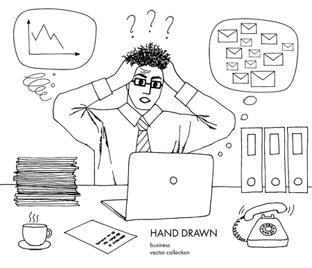 Work crisis. Businessman holds his head looking at the monitor. Hair stand on end. A lot of inbox mails, bad schedule, no idea what to do. Hand drawn black and white vector line art sketch Foto de archivo - 125905813