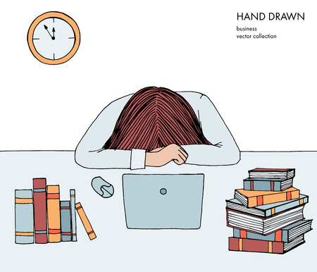 Young girl woman laid her head down on the table. Frustrated, exhausted, sleepy, tired of work. Laptop, computer, pc, books. Hand drawn colored vector sketch illustration isolated on white background.