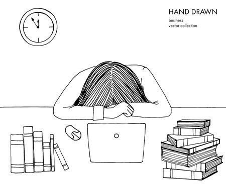 Young girl woman laid her head down on the table. Frustrated, exhausted, sleepy, tired of work. Laptop, computer, books. Hand drawn black and white line art illustration isolated on white background. Çizim
