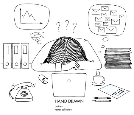 Young businesswoman laid her head down on the table. Telephone rings, a lot of inbox mails, bad schedule, no idea what to do. Hand drawn black and white vector sketch illustration isolated.
