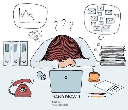 Young businesswoman laid her head down on the table. Telephone rings, a lot of inbox mails, bad schedule, no idea what to do. Hand drawn vector sketch illustration isolated on white background.