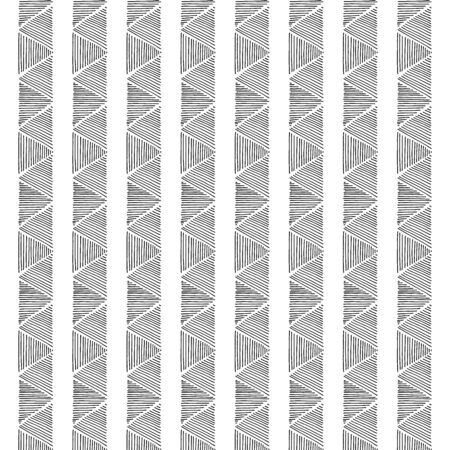 Vertical lines of triangles. Hand drawn decorative pattern. Conceptual fashion print for graphic design. White background