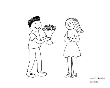 Young offended girl refuses from flowers from her boyfriend after quarrel, conflict, argument. Boy giving flowers to a girl. Cartoon hand drawn relationship sketch