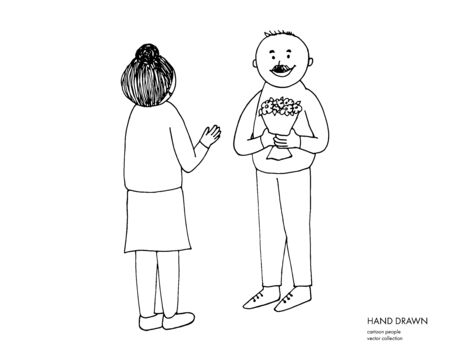 Adult man giving flowers to a woman. Wife, mother, grandmother. Cartoon hand drawn couple illustration. Black sketch on white background.