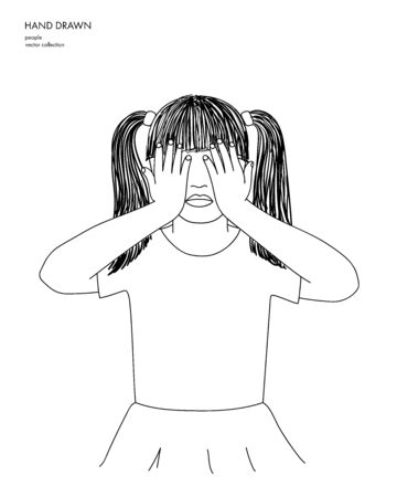 Hand drawn illustration of little girl covering eyes with hands. Black sketch isolated on white background