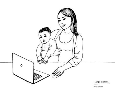 Hand drawn sketch of young mom working on laptop holding her baby boy. Mother with baby son studying. Black line illustration on white background
