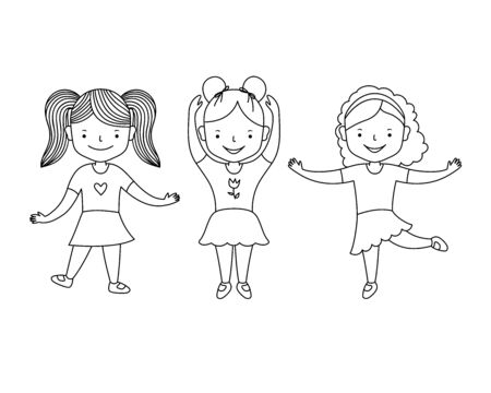Cute happy little girls dancing. Cartoon style. Black and white contour line vector clipart illustration isolated. Coloring book