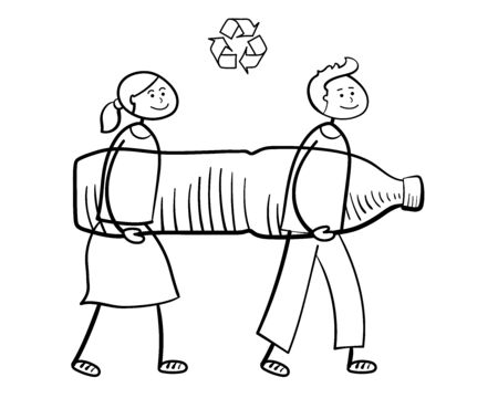 Cartoon people carrying big plastic bottle to recycle. Waste recycling, waste sorting, re-use of materials and environmental protection concept. Recycle sign. Hand drawn vector sketch.