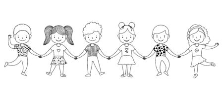 Group of happy kids standing together and holding hands. Friendship concept. Black and white graphic line art vector illustration.